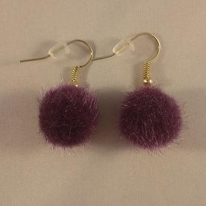 Kristy's Jewels Jewelry - Gold Purple Fuzzy Ball Earrings Hypoallergenic Hks